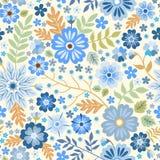 Безшовная ditsy картина с голубыми цветками на белой предпосылке бесплатная иллюстрация