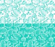 Безшовная handcrafted картина с отпечатком листьев Стоковое Изображение