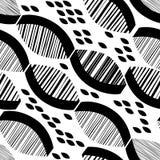 Безшовная monochrome картина с striped абстрактными формами Светотеневая иллюстрация бесплатная иллюстрация