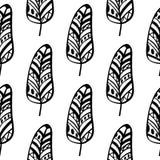 Безшовная monochrome картина feathers-06 Стоковые Фотографии RF