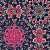 Безшовная multicolor картина вектора с стилизованными цветками - мандалами иллюстрация штока