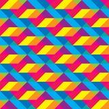 Безшовная Overlaid картина полигональных форм Cmyk Стоковая Фотография RF