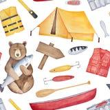 Безшовная repeatable картина на теме рыбной ловли и летних каникулов бесплатная иллюстрация