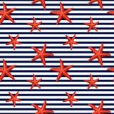 Безшовная striped картина с морскими звёздами Стоковое Фото