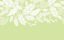 Безшовное белых цветков и листьев горизонтальное Стоковое Изображение