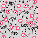 Безшовное вектора красочное с сердцами и ключами Стоковое Изображение