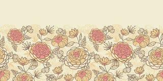 Безшовное винтажных коричневых розовых цветков горизонтальное Стоковая Фотография
