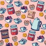 Безшовное время чая картины Иллюстрация штока
