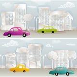 Безшовное городское визирование с красочными автомобилями иллюстрация штока
