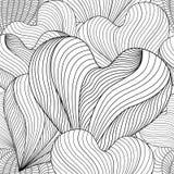 Безшовное декоративное сердце влюбленности Книжка-раскраска для взрослых и более старых детей Стоковые Изображения RF
