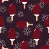 Безшовное лето, картина настроения зимы с сладостным мороженым и снежинки Текстура с холодными десертами, sundae fudge мороженого Стоковые Фото