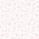 Безшовное детское питание картины, пастельный цвет, иллюстрация вектора Линия значки младенческий подавать тонкая Милая повторенн Стоковые Изображения