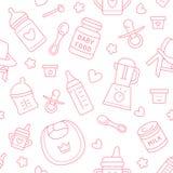 Безшовное детское питание картины, пастельный цвет, иллюстрация вектора Линия значки младенческий подавать тонкая Милая повторенн Стоковая Фотография