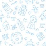 Безшовное детское питание картины, пастельный цвет, иллюстрация вектора Линия значки младенческий подавать тонкая Милая повторенн Стоковые Фото