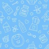 Безшовное детское питание картины, пастельный цвет, иллюстрация вектора Линия значки младенческий подавать тонкая Милая повторенн Стоковое Изображение RF
