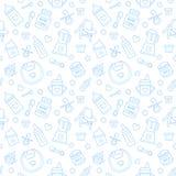 Безшовное детское питание картины, пастельный цвет, иллюстрация вектора Линия значки младенческий подавать тонкая Милая повторенн Стоковое Фото