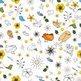 Безшовное изображение флоры и темы фауны в простом стиле стоковое изображение