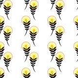 Безшовное искусство предпосылки дизайна вектора цветочного узора при красочный одуванчик смотря листья и семена цветков Стоковое Фото