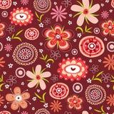 безшовное картины цветка красное Стоковая Фотография RF