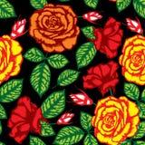 безшовное картины цветка ретро Стоковые Изображения