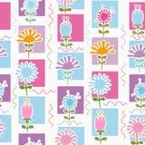 безшовное картины цветков ретро Стоковое фото RF