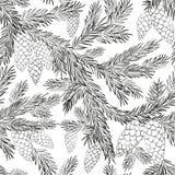Безшовное мех-дерево картины Стоковое Изображение