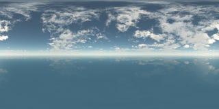 Безшовное дневное время панорамы неба 360 и моря бесплатная иллюстрация