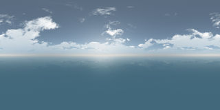 Безшовное дневное время панорамы неба 360 и моря иллюстрация вектора