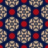 безшовное предпосылки голубое Флористическая бежевая и красная картина Стоковые Фото
