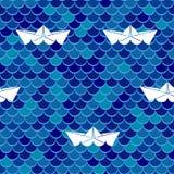 безшовное предпосылки морское Шлюпки моря волнистые и бумажные также вектор иллюстрации притяжки corel Стоковое Фото