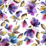 безшовное предпосылки флористическое пурпур картины цветков Прозрачные флористические лепестки Шаблон картины ткани бесплатная иллюстрация