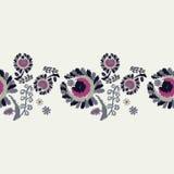 безшовное предпосылки декоративное флористическое граница безшовная цветастая ткань вышивки Ретро мотив Стоковые Фотографии RF