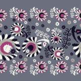 безшовное предпосылки декоративное флористическое граница безшовная цветастая ткань вышивки Ретро мотив Стоковая Фотография