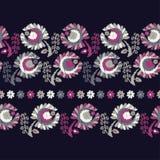 безшовное предпосылки декоративное флористическое граница безшовная цветастая ткань вышивки Ретро мотив Стоковое Изображение RF