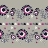 безшовное предпосылки декоративное флористическое граница безшовная цветастая ткань вышивки Ретро мотив Стоковые Изображения RF