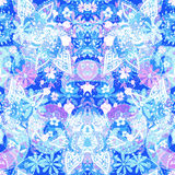 безшовное предпосылки флористическое Абстрактные цветки стиля Пейсли на bl Стоковое Изображение RF