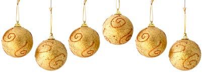 безшовное рождества граници шариков золотистое repeatable Стоковые Фотографии RF