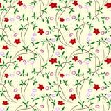 безшовное флористических цветков предпосылки красное иллюстрация вектора