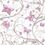 безшовное флористической картины бабочки романтичное Стоковое Изображение RF