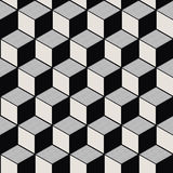 Безшовное фоновое изображение винтажной черной белой кубической линии картины геометрии Стоковые Изображения RF