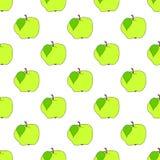 Безшовное яблоко зеленого цвета предпосылки на белом поле Стоковое Изображение RF