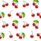 Безшовное berrie красного цвета вишни предпосылки картины зрелое Стоковые Изображения