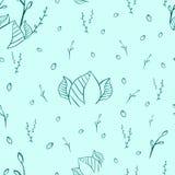 Безшовное patern линии стиля листьев на зеленой предпосылке иллюстрация штока