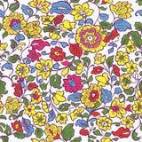 Безшовное SummerTexture с цветками и лист иллюстрация штока