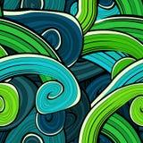Безшовной абстрактной нарисованная рукой картина волн волнисто иллюстрация вектора