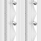 Безшовной глаза картины спрятанные женщиной смотря до вертикальные венецианские шторки eps 10 иллюстрация штока