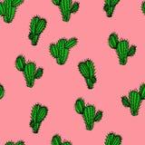 Безшовной нарисованная рукой картина вектора с saguaro кактуса Стоковые Фотографии RF