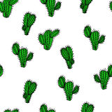 Безшовной нарисованная рукой картина вектора с saguaro кактуса Стоковые Изображения