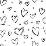 Безшовной нарисованная рукой картина сердца Стоковые Изображения