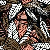 Безшовной обои нарисованные рукой тропические с листьями Стоковые Фото